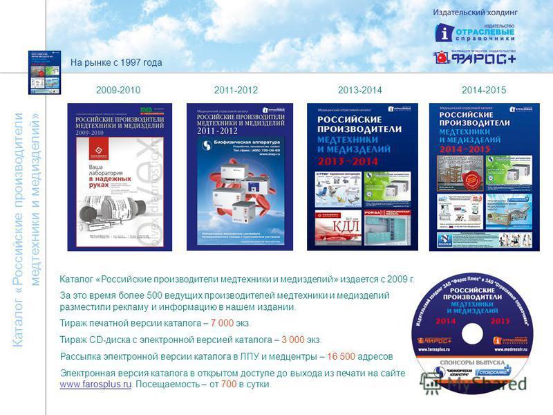 На рынке с 1997 года Каталог «Российские производители медтехники и мед изделий» Каталог «Российские производители медтехники и мед изделий» издается с 2009 г. За это время более 500 ведущих производителей медтехники и мед изделий разместили рекламу