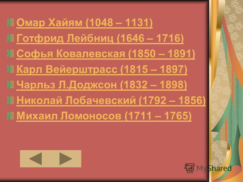 Омар Хайям (1048 – 1131) Готфрид Лейбниц (1646 – 1716) Софья Ковалевская (1850 – 1891) Карл Вейерштрасс (1815 – 1897) Чарльз Л.Доджсон (1832 – 1898) Николай Лобачевский (1792 – 1856) Михаил Ломоносов (1711 – 1765)