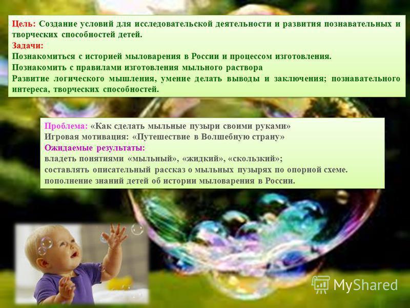 Цель: Создание условий для исследовательскойй деятельности и развития познавательных и творческих способностей детей. Задачи: Познакомиться с историей мыловарения в России и процессом изготовления. Познакомить с правилами изготовления мыльного раство
