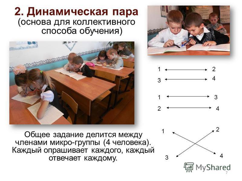2. Динамическая пара (основа для коллективного способа обучения) Общее задание делится между членами микро-группы (4 человека). Каждый опрашивает каждого, каждый отвечает каждому. 1 4 3 2 1 4 2 3 13 24 7