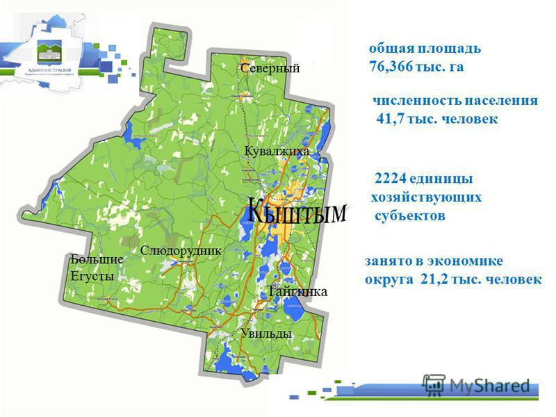 Увильды Большие Егусты Тайгинка Кувалжиха Северный общая площадь 76,366 тыс. га численность населения 41,7 тыс. человек занято в экономике округа 21,2 тыс. человек 2224 единицы хозяйствующих субъектов Слюдорудник