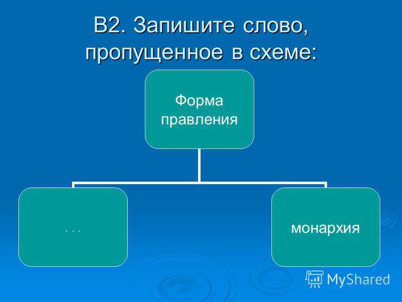 В2. Запишите слово, пропущенное в схеме: Форма правления...монархия