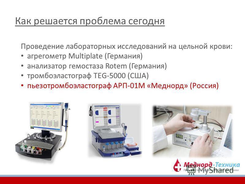 Как решается проблема сегодня Проведение лабораторных исследований на цельной крови: агрегометр Multiplate (Германия) анализатор гемостаза Rotem (Германия) тромбоэластограф TEG-5000 (США) пьезотромбоэластограф АРП-01М «Меднорд» (Россия)