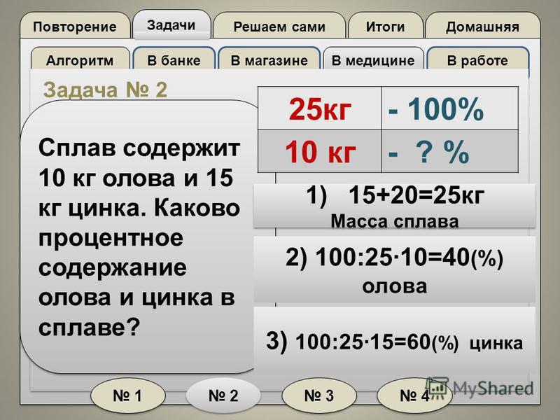 Повторение Задачи Решаем сами Домашняя Итоги Алгоритм В банкеВ магазине В медицине В работе 1 1 2 2 3 3 4 4 Сплав содержит 10 кг олова и 15 кг цинка. Каково процентное содержание олова и цинка в сплаве? 2) 100:2510=40 (%) олова 3) 100:2515=60 (%) цин