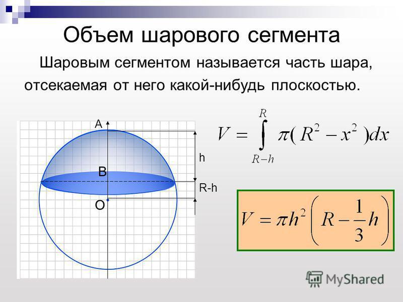 Объем шарового сегмента Шаровым сегментом называется часть шара, отсекаемая от него какой-нибудь плоскостью. h R-h O A B