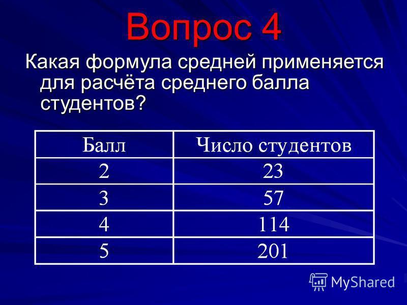 Вопрос 4 Какая формула средней применяется для расчёта среднего балла студентов?