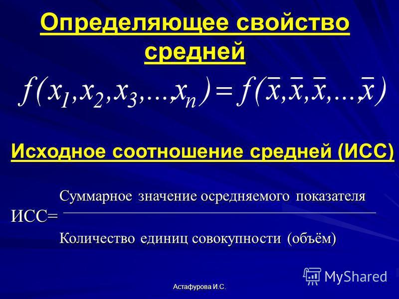 Астафурова И.С. Определяющее свойство средней Исходное соотношение средней (ИСС) Суммарное значение осредняемого показателя Суммарное значение осредняемого показателяИСС= Количество единиц совокупности (объём) Количество единиц совокупности (объём)