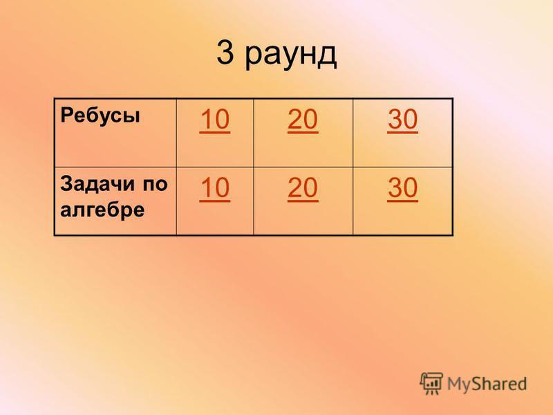 3 раунд Ребусы 102030 Задачи по алгебре 102030