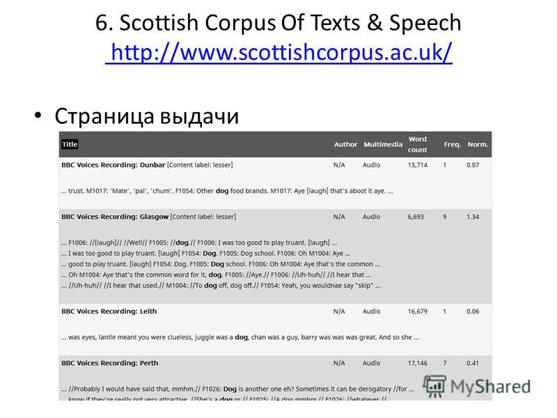 6. Scottish Corpus Of Texts & Speech http://www.scottishcorpus.ac.uk/ http://www.scottishcorpus.ac.uk/ Страница выдачи