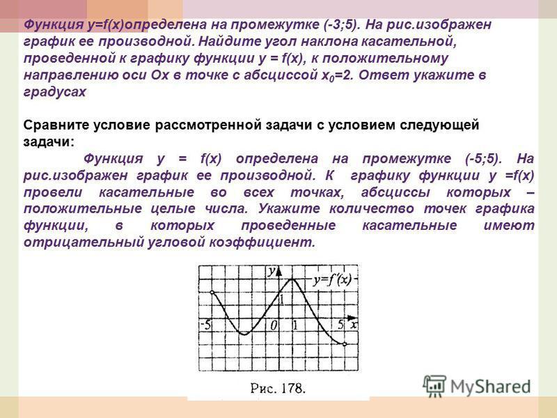 Функция у=f(x)определена на промежутке (-3;5). На рис.изображен график ее производной. Найдите угол наклона касательной, проведенной к графику функции y = f(x), к положительному направлению оси Ох в точке с абсциссой х 0 =2. Ответ укажите в градусах