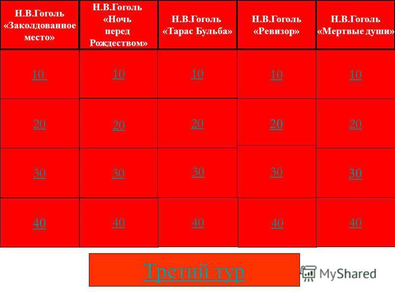 Второй - красный тур Он построен по тому же принципу, что и первый. Но стоимость вопросов (номинал) увеличена в два раза (от 10 до 40).