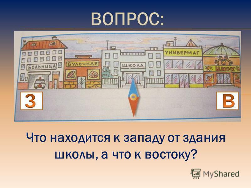 ВОПРОС: Что находится к западу от здания школы, а что к востоку?