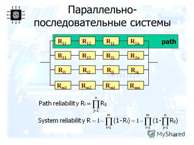 15 path Параллельно- последовательные системы R 11 R 12 R 1j R 1n R 21 R 22 R 2j R 2n R i1 R i2 R ij R in R m1 R m2 R mj R mn