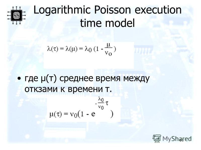 61 Logarithmic Poisson execution time model где μ(τ) среднее время между откзами к времени τ.