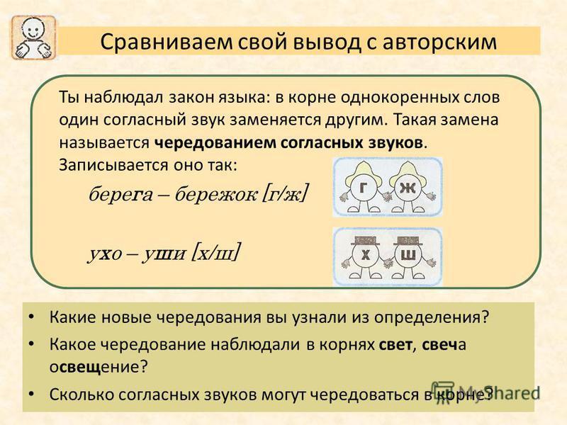 Ты наблюдал закон языка: в корне однокоренных слов один согласный звук заменяется другим. Такая замена называется чередованием согласных звуков. Записывается оно так: берега – бережок [г/ж] ухо – уши [х/ш] Сравниваем свой вывод с авторским Какие новы