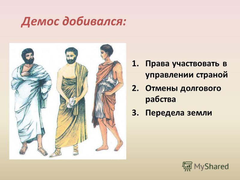 Демос добивался: 1. Права участвовать в управлении страной 2. Отмены долгового рабства 3. Передела земли