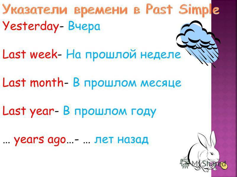 Yesterday- Вчера Last week- На прошлой неделе Last month- В прошлом месяце Last year- В прошлом году … years ago…- … лет назад