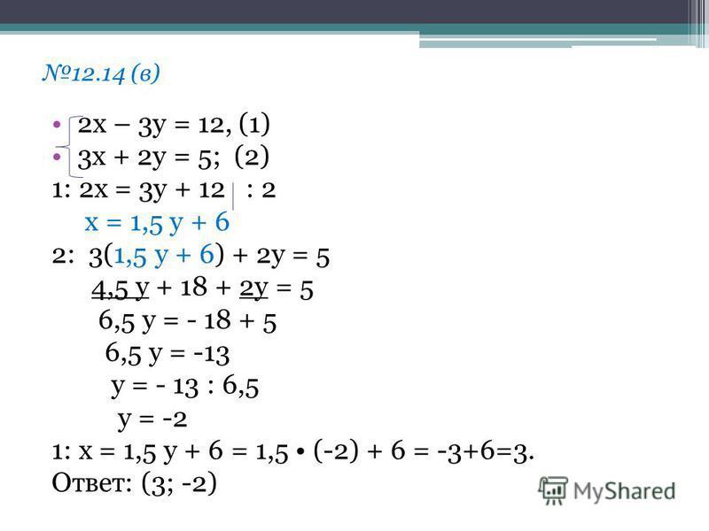 12.14 (в) 2 х – 3 у = 12, (1) 3 х + 2 у = 5; (2) 1: 2 х = 3 у + 12 : 2 х = 1,5 у + 6 2: 3(1,5 у + 6) + 2 у = 5 4,5 у + 18 + 2 у = 5 6,5 у = - 18 + 5 6,5 у = -13 у = - 13 : 6,5 у = -2 1: х = 1,5 у + 6 = 1,5 (-2) + 6 = -3+6=3. Ответ: (3; -2)