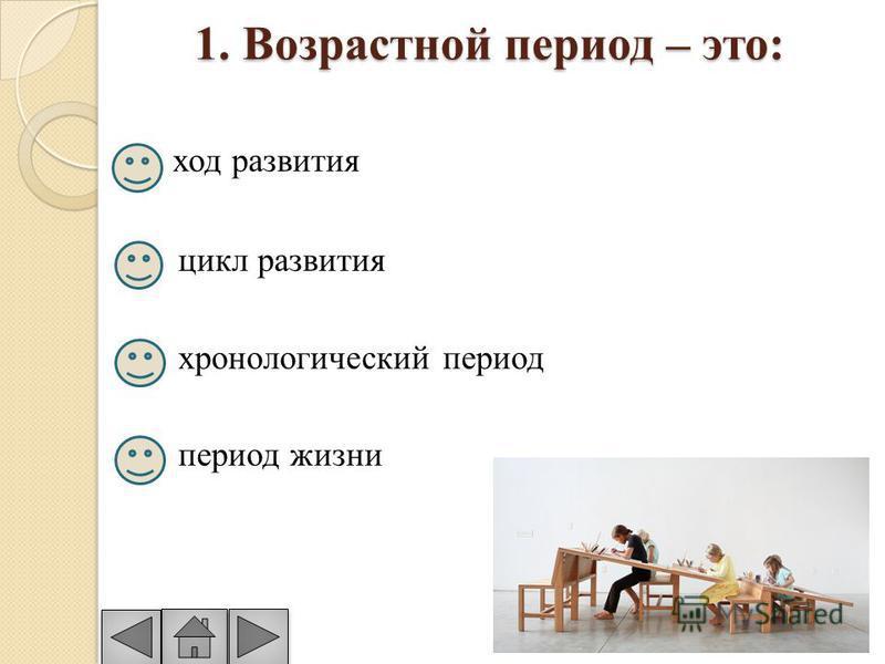 1. Возрастной период – это: ход развития цикл развития хронологический период период жизни