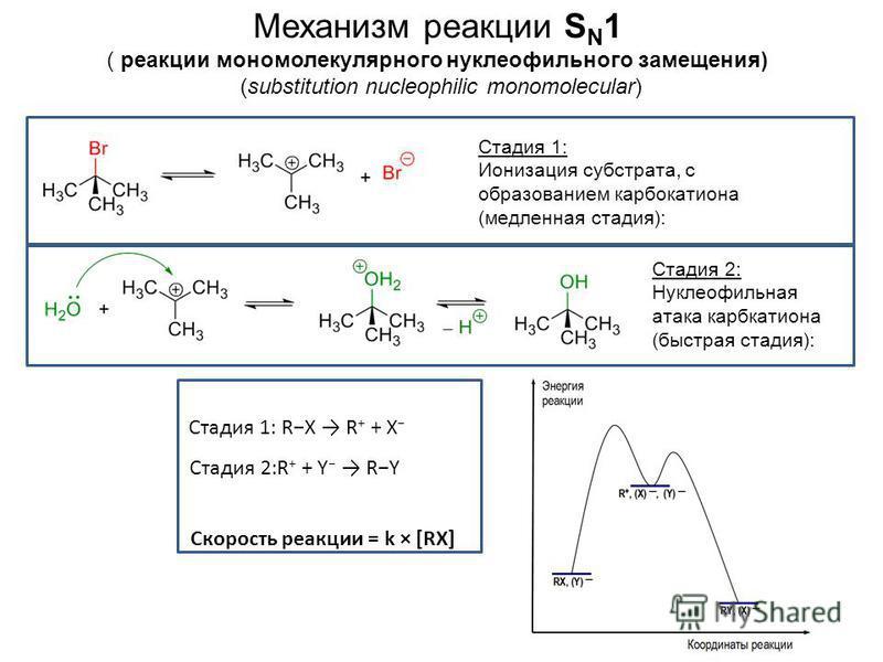 Механизм реакции S N 1 ( реакции мономолекулярного нуклеофильного замещения) (substitution nucleophilic monomolecular) Стадия 1: Ионизация субстрата, с образованием карбкатиона (медленная стадия): Стадия 2: Нуклеофильная атака карбкатиона (быстрая ст