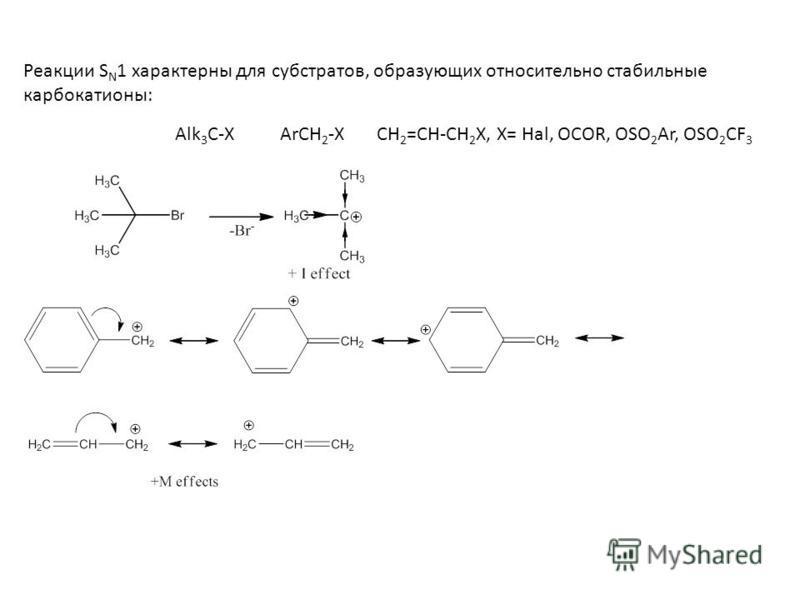 Реакции S N 1 характерны для субстратов, образующих относительно стабильные карбкатионы: Alk 3 C-X ArCH 2 -X CH 2 =CH-CH 2 X, X= Hal, OCOR, OSO 2 Ar, OSO 2 CF 3