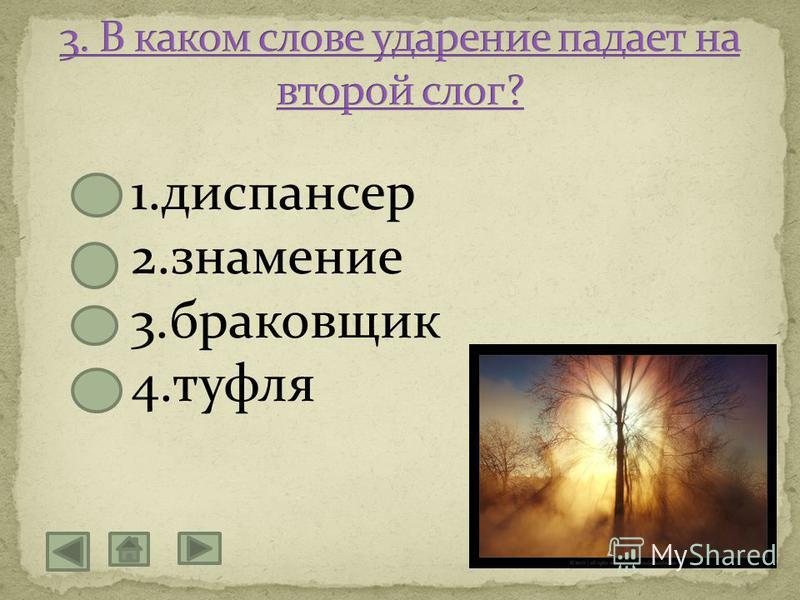 1. диспансер 2. знамение 3. браковщик 4.туфля