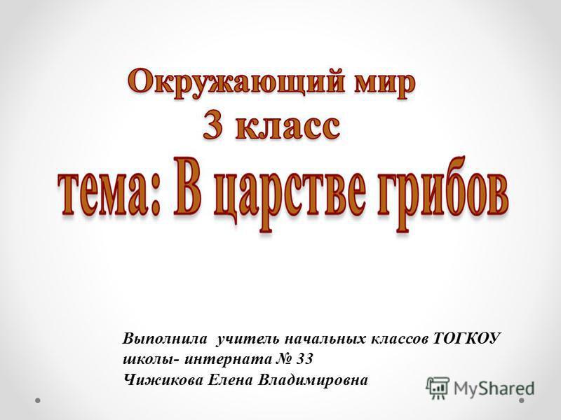 Выполнила учитель начальных классов ТОГКОУ школы- интерната 33 Чижикова Елена Владимировна