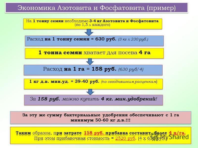 1 тонна семян хватает для посева 4 га За эту же сумму бактериальные удобрения обеспечивают с 1 га минимум 50-60 кг д.в.!!! Экономика Азотовита и Фосфатовита (пример) На 1 тонну семян необходимо 3-4 кг Азотовита и Фосфатовита (по 1,5 л каждого) Расход