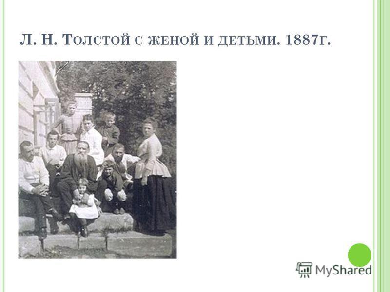 Л. Н. Т ОЛСТОЙ С ЖЕНОЙ И ДЕТЬМИ. 1887 Г.