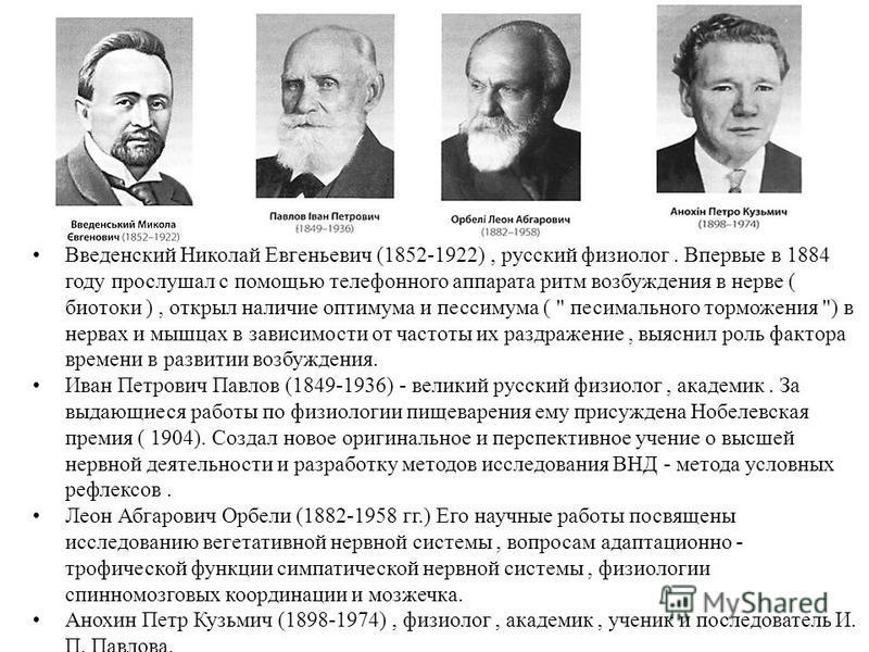 Введенский Николай Евгеньевич (1852-1922), русский физиолог. Впервые в 1884 году прослушал с помощью телефонного аппарата ритм возбуждения в нерве ( биотоки ), открыл наличие оптимума и пессимума (