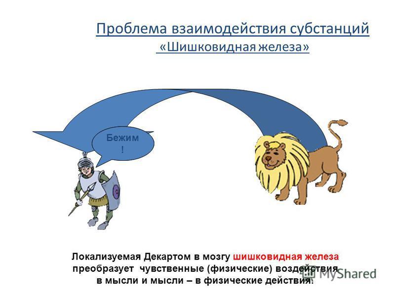 Проблема взаимодействия субстанций «Шишковидная железа» Лев! Бежим ! Локализуемая Декартом в мозгу шишковидная железа преобразует чувственные (физические) воздействия в мысли и мысли – в физические действия.