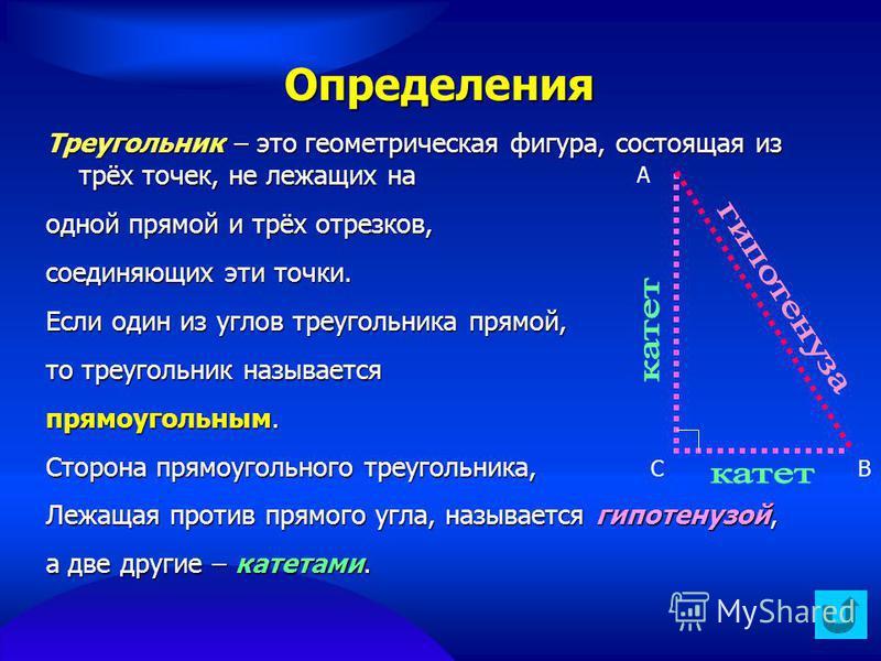Определения Треугольник – это геометрическая фигура, состоящая из трёх точек, не лежащих на одной прямой и трёх отрезков, соединяющих эти точки. Если один из углов треугольника прямой, то треугольник называется прямоугольным. Сторона прямоугольного т
