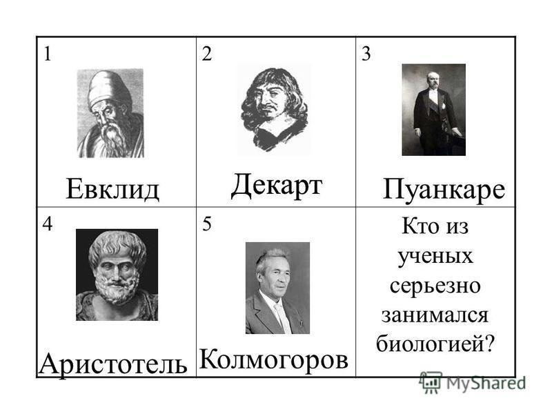 123 45 Кто из ученых серьезно занимался биологией? Декарт Аристотель Евклид Колмогоров Пуанкаре Декарт