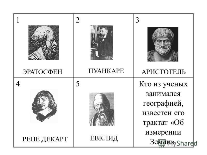 123 45Кто из ученых занимался географией, известен его трактат «Об измерении Земли». ЭРАТОСФЕН РЕНЕ ДЕКАРТ ЕВКЛИД ПУАНКАРЕ АРИСТОТЕЛЬ