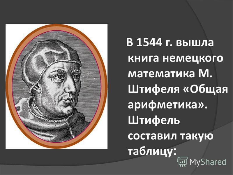В 1544 г. вышла книга немецкого математика М. Штифеля «Общая арифметика». Штифель составил такую таблицу :