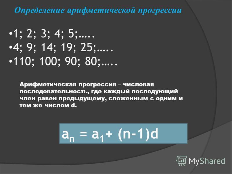 Арифметическая прогрессия – числовая последовательность, где каждый последующий член равен предыдущему, сложенным с одним и тем же числом d. a n = a 1 + (n-1)d 1; 2; 3; 4; 5;….. 4; 9; 14; 19; 25;….. 110; 100; 90; 80;….. Определение арифметической про