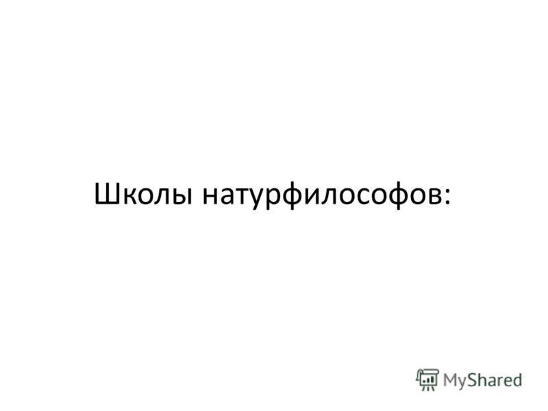 Школы натурфилософов: