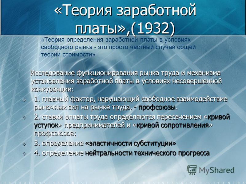 «Теория заработной платы»,(1932) Исследование функционирования рынка труда и механизма установления заработной платы в условиях несовершенной конкуренции: Исследование функционирования рынка труда и механизма установления заработной платы в условиях