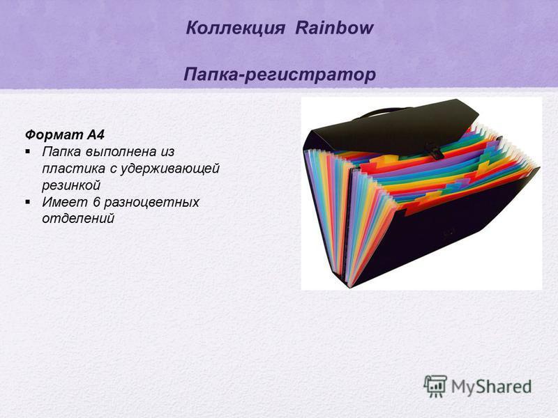Коллекция Rainbow Папка-регистратор Формат А4 Папка выполнена из пластика с удерживающей резинкой Имеет 6 разноцветных отделений