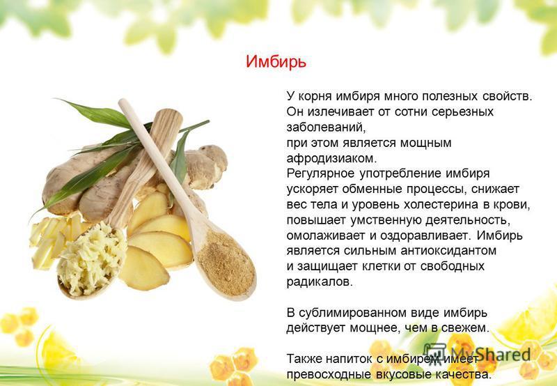 Имбирь У корня имбиря много полезных свойств. Он излечивает от сотни серьезных заболеваний, при этом является мощным афродизиаком. Регулярное употребление имбиря ускоряет обменные процессы, снижает вес тела и уровень холестерина в крови, повышает умс