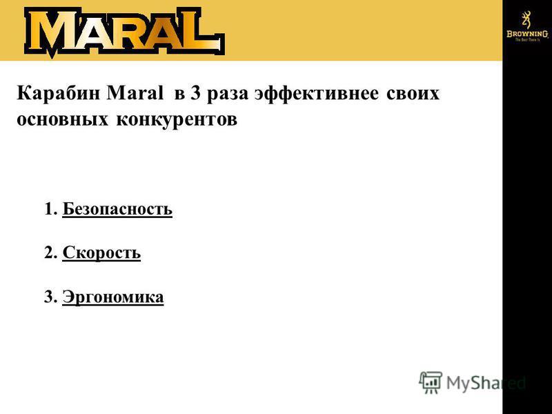 Карабин Maral в 3 раза эффективнее своих основных конкурентов 1. Безопасность 2. Скорость 3. Эргономика