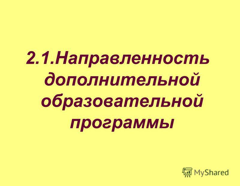 2.1. Направленность дополнительной образовательной программы