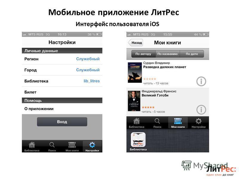 Мобильное приложение Лит Рес 7 Интерфейс пользователя iOS