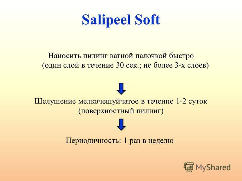 Salipeel Soft Наносить пилинг ватной палочкой быстро (один слой в течение 30 сек.; не более 3-х слоев) Шелушение мелкочешуйчатое в течение 1-2 суток (поверхностный пилинг) Периодичность: 1 раз в неделю
