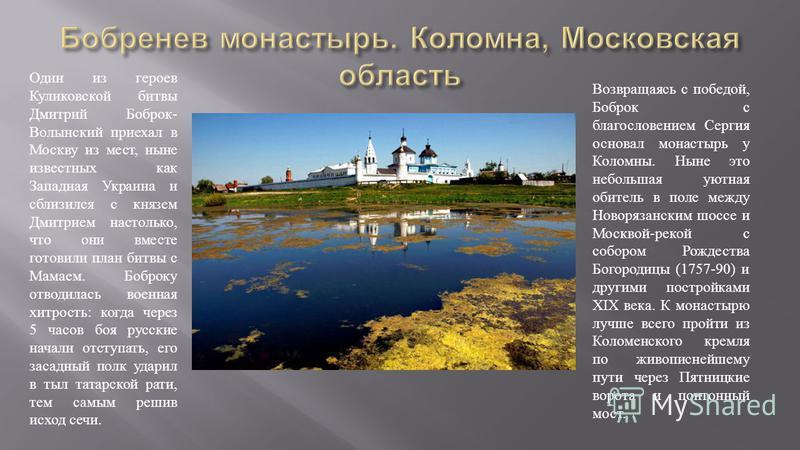 Один из героев Куликовской битвы Дмитрий Боброк - Волынский приехал в Москву из мест, ныне известных как Западная Украина и сблизился с князем Дмитрием настолько, что они вместе готовили план битвы с Мамаем. Боброку отводилась военная хитрость : когд