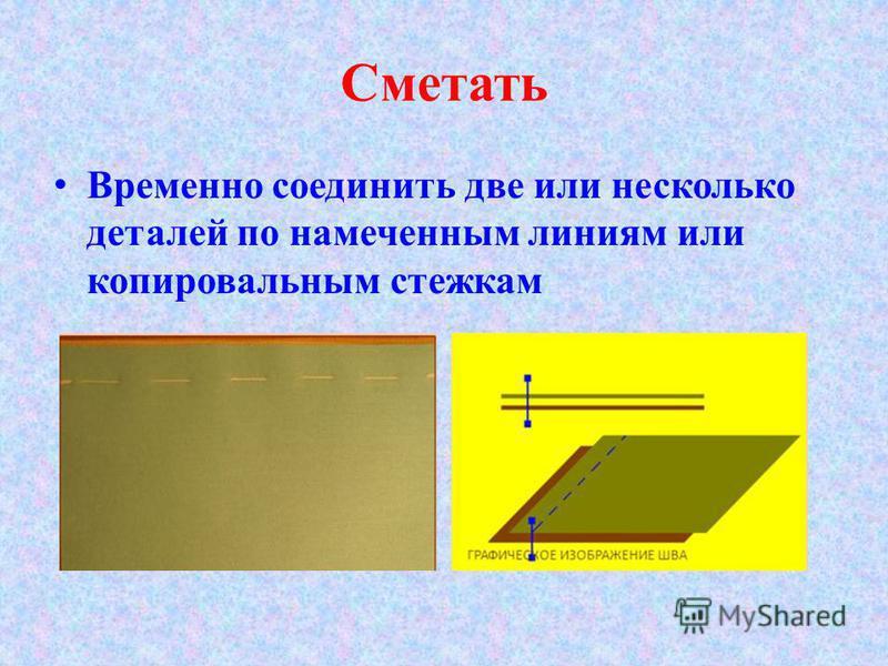 Сметать Временно соединить две или несколько деталей по намеченным линиям или копировальным стежкам