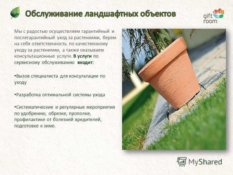 Мы с радостью осуществляем гарантийный и послегарантийный уход за растениями, берем на себя ответственность по качественному уходу за растениями, а также оказываем консультационные услуги. В услуги по сервисному обслуживанию входит: Вызов специалиста