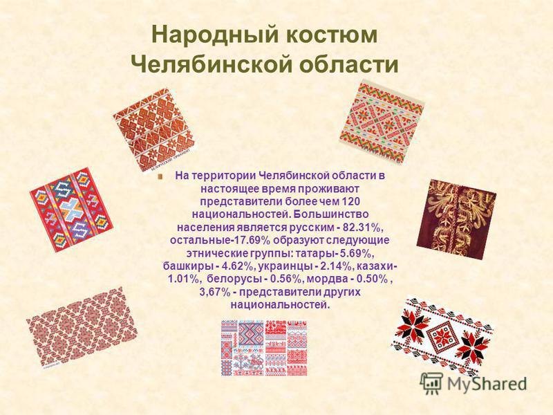 Народный костюм Челябинской области На территории Челябинской области в настоящее время проживают представители более чем 120 национальностей. Большинство населения является русским - 82.31%, остальные-17.69% образуют следующие этнические группы: тат
