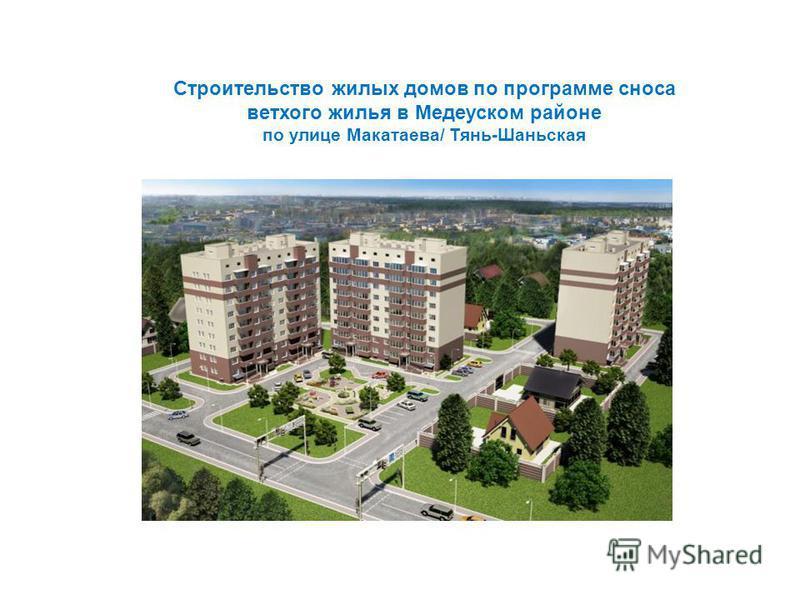 Строительство жилых домов по программе сноса ветхого жилья в Медеуском районе по улице Макатаева/ Тянь-Шаньская