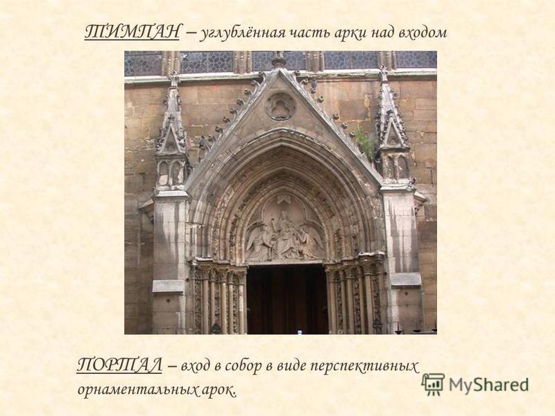 ТИМПАН – углублённая часть арки над входом ПОРТАЛ – вход в собор в виде перспективных орнаментальных арок.